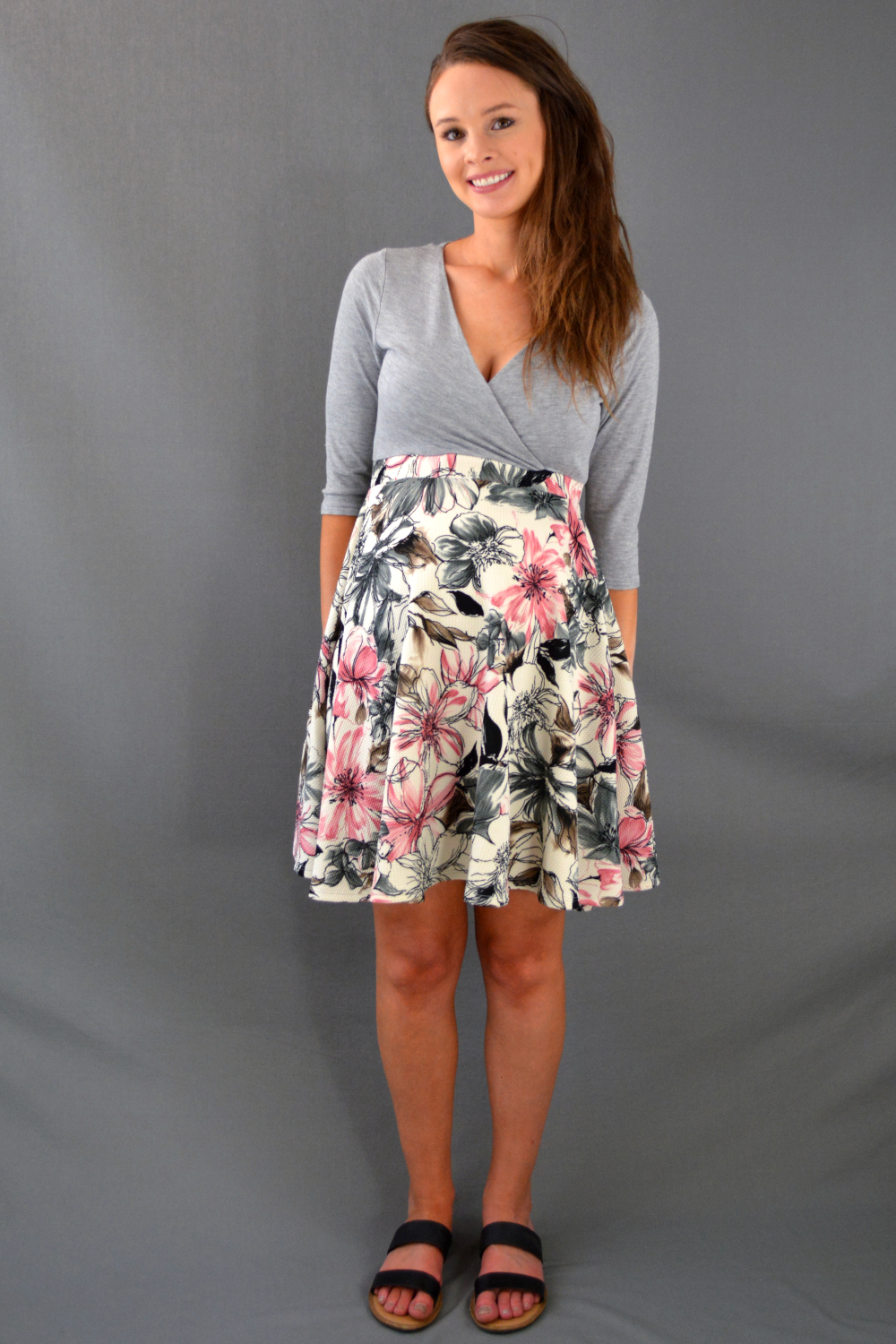 Hello Miz Gray and Pink Floral Maternity/Nursing Dress